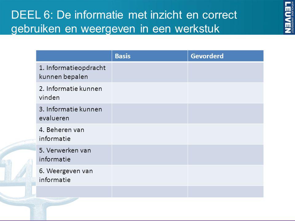 BasisGevorderd 1. Informatieopdracht kunnen bepalen 2. Informatie kunnen vinden 3. Informatie kunnen evalueren 4. Beheren van informatie 5. Verwerken