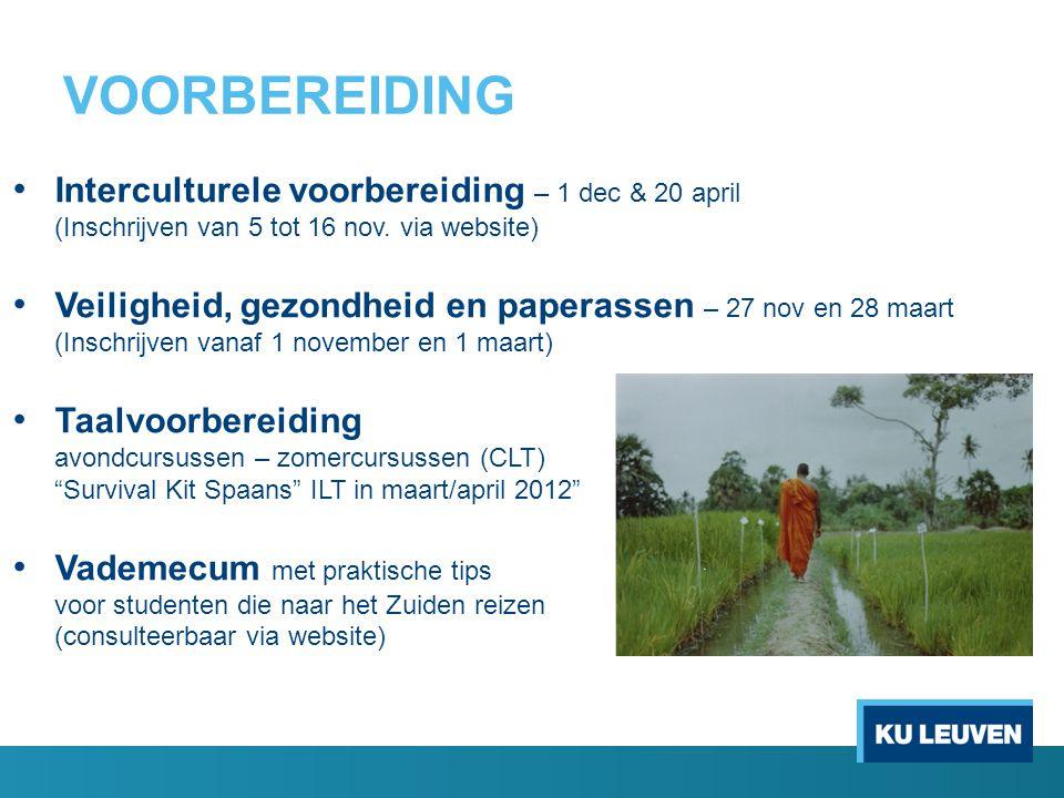 VOORBEREIDING Interculturele voorbereiding – 1 dec & 20 april (Inschrijven van 5 tot 16 nov.