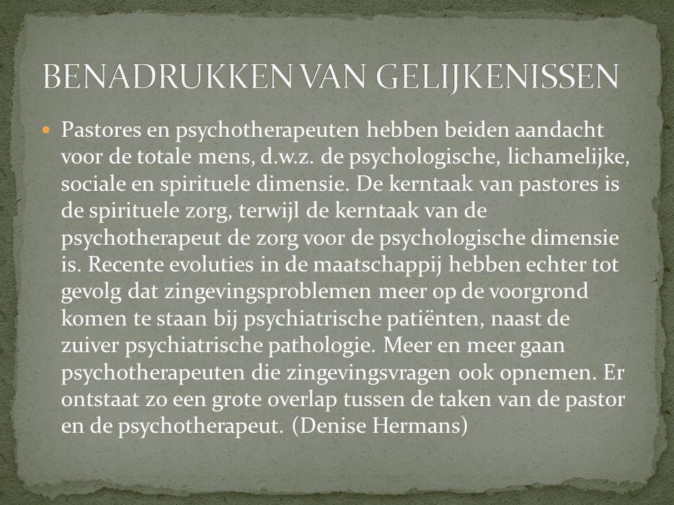 Pastores en psychotherapeuten hebben beiden aandacht voor de totale mens, d.w.z. de psychologische, lichamelijke, sociale en spirituele dimensie. De k