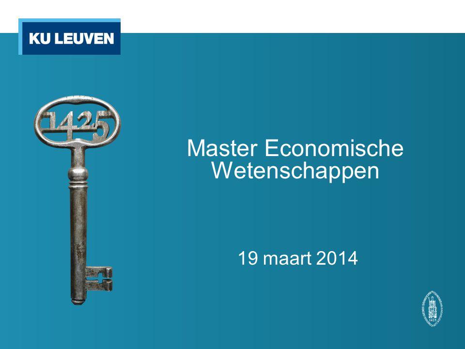 Programma Taaldecreet: maximum 50% aan Engelstalige opleidingsonderdelen opnemen in een Nederlandstalige opleiding => Master Economische Wetenschappen: max.