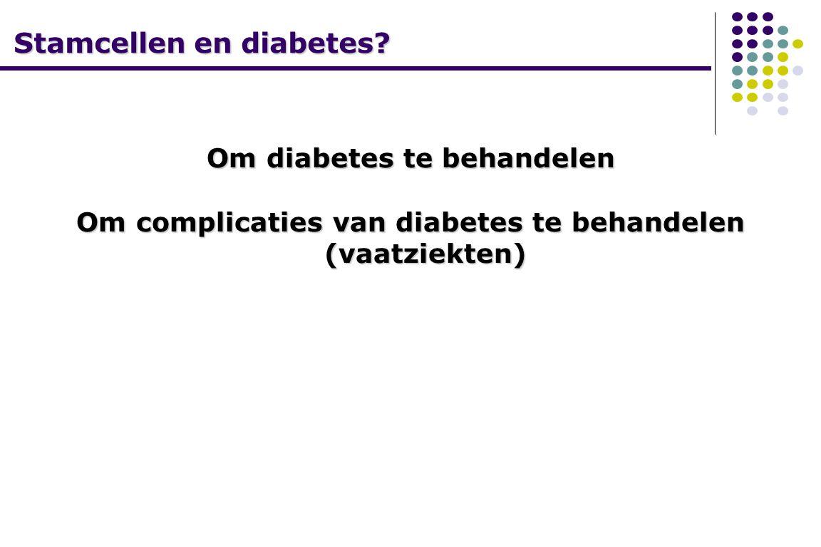 Stamcellen en diabetes? Om diabetes te behandelen Om complicaties van diabetes te behandelen (vaatziekten)