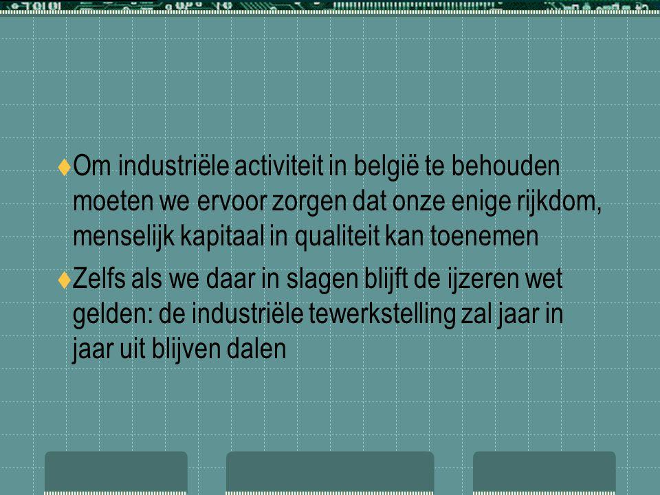  Om industriële activiteit in belgië te behouden moeten we ervoor zorgen dat onze enige rijkdom, menselijk kapitaal in qualiteit kan toenemen  Zelfs