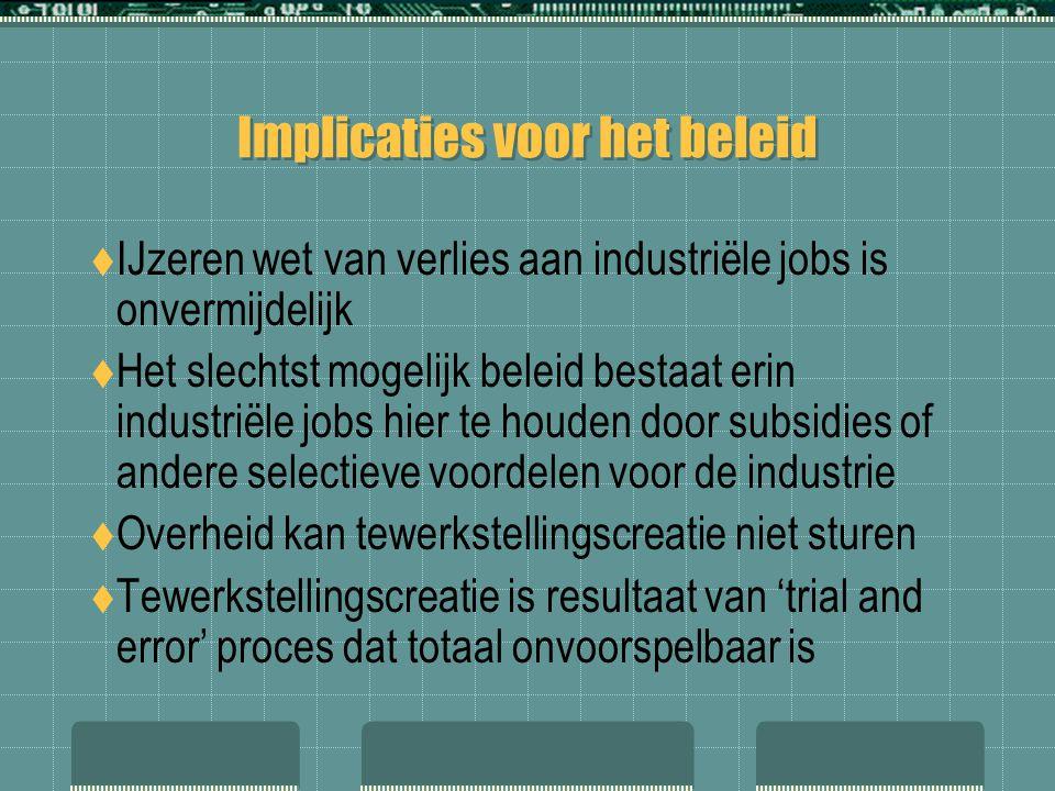 Implicaties voor het beleid  IJzeren wet van verlies aan industriële jobs is onvermijdelijk  Het slechtst mogelijk beleid bestaat erin industriële j