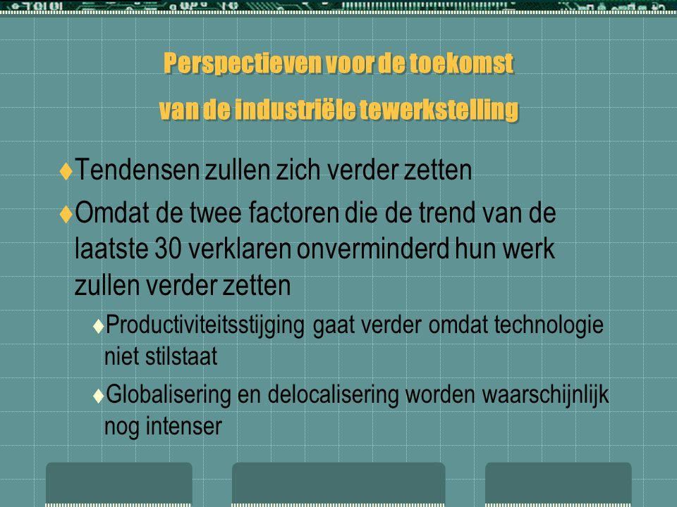 Perspectieven voor de toekomst van de industriële tewerkstelling  Tendensen zullen zich verder zetten  Omdat de twee factoren die de trend van de la