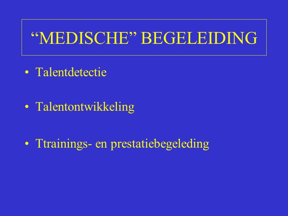 """""""MEDISCHE"""" BEGELEIDING Talentdetectie Talentontwikkeling Ttrainings- en prestatiebegeleding"""