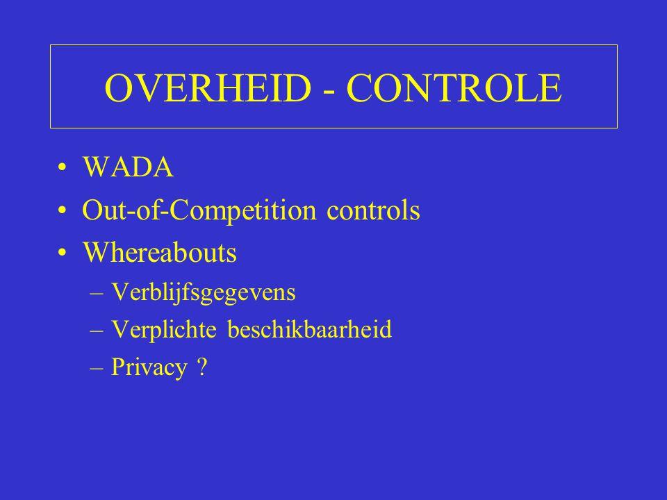 OVERHEID - CONTROLE WADA Out-of-Competition controls Whereabouts –Verblijfsgegevens –Verplichte beschikbaarheid –Privacy ?