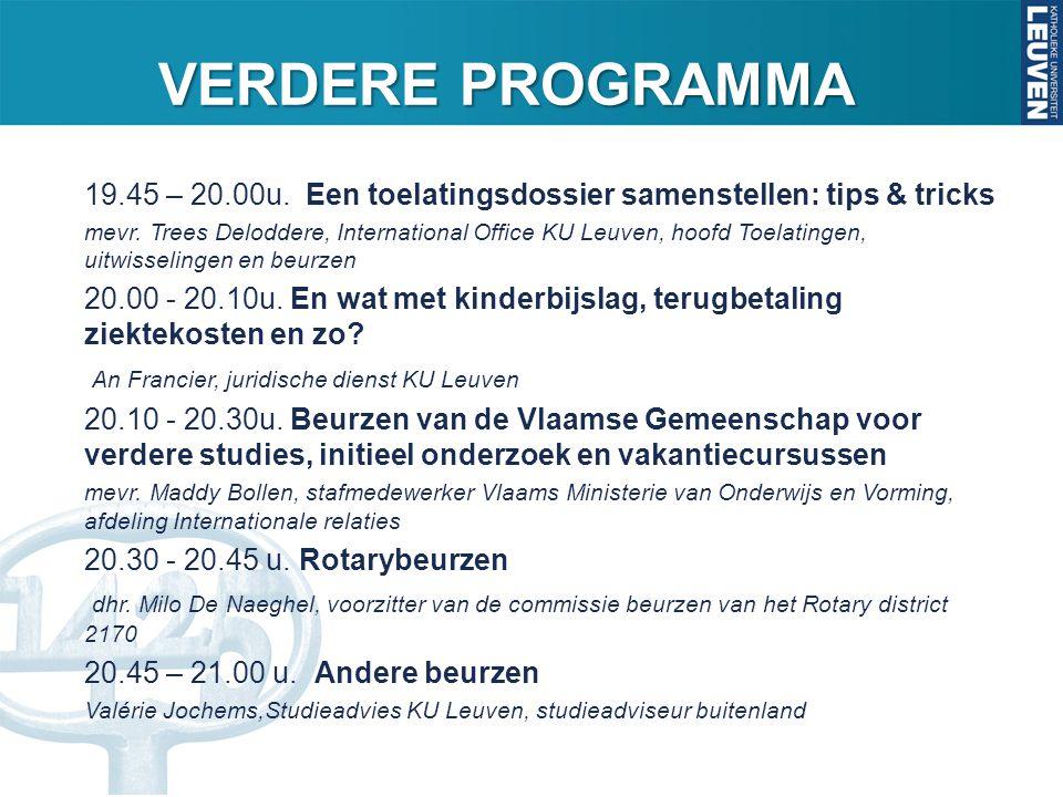 VERDERE PROGRAMMA 19.45 – 20.00u. Een toelatingsdossier samenstellen: tips & tricks mevr. Trees Deloddere, International Office KU Leuven, hoofd Toela