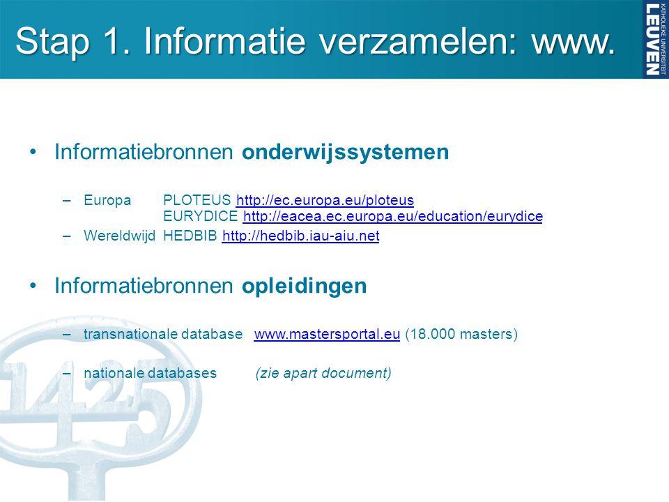Stap 1. Informatie verzamelen: www. Informatiebronnen onderwijssystemen –Europa PLOTEUS http://ec.europa.eu/ploteus EURYDICE http://eacea.ec.europa.eu