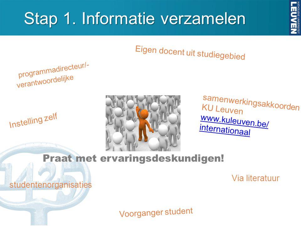 Stap 1. Informatie verzamelen Praat met ervaringsdeskundigen! programmadirecteur/- verantwoordelijke Eigen docent uit studiegebied Voorganger student