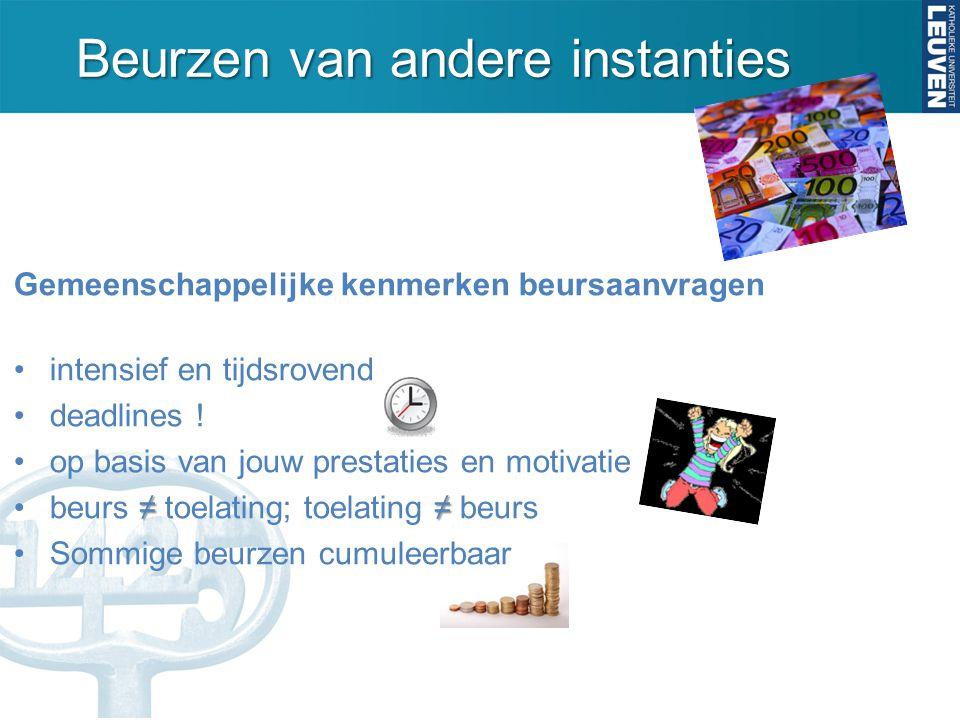 Beurzen beurzen specifiek voor Belgische studenten beurzen van internationale organisaties en stichtingen beurzen van universiteiten zelf 1 2 3