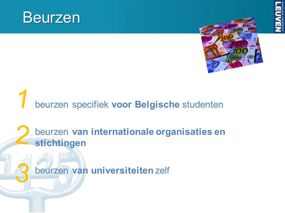Beurzen voor Belgische studenten: specifieke landen Italië Studies Collegio dei Fiamminghi: www.collegiodeifiamminghi.it/deadline meestal aprilwww.collegiodeifiamminghi.it/ Onderzoek  Academiae Belgica www.academiabelgica.it deadline meestal septemberwww.academiabelgica.it  Lemmerman Fonds http://lemmermann.nexus.it: deadline 15 maart (€750/maand)http://lemmermann.nexus.it US Studies en onderzoek  BAEF www.baef.be ;1 jaar; deadline 31 okt.