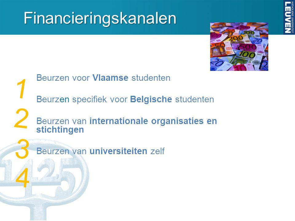 Financieringskanalen Beurzen voor Vlaamse studenten Beurzen specifiek voor Belgische studenten Beurzen van internationale organisaties en stichtingen Beurzen van universiteiten zelf 1 2 3 4