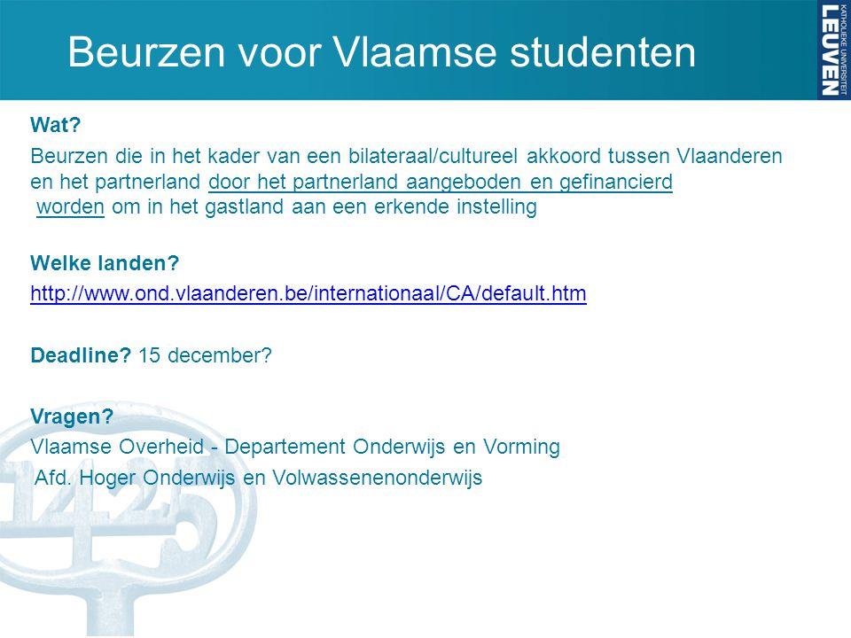 Beurzen voor Vlaamse studenten Wat.