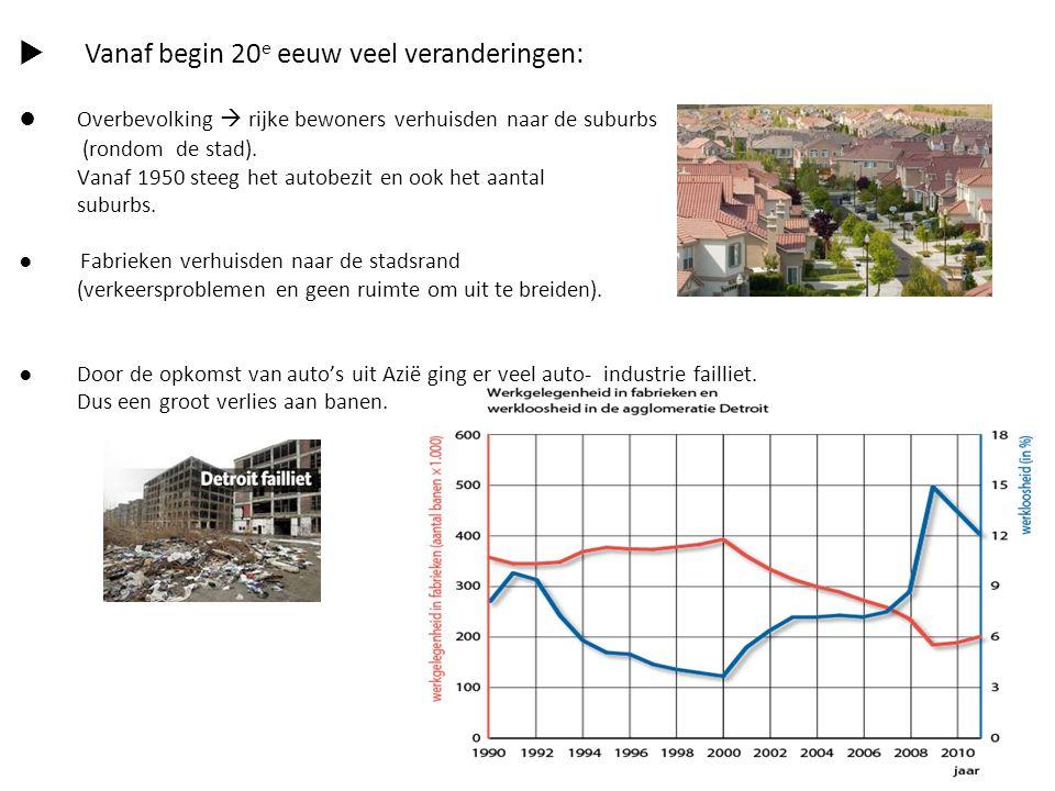  Vanaf begin 20 e eeuw veel veranderingen: ● Overbevolking  rijke bewoners verhuisden naar de suburbs (rondom de stad). Vanaf 1950 steeg het autobez