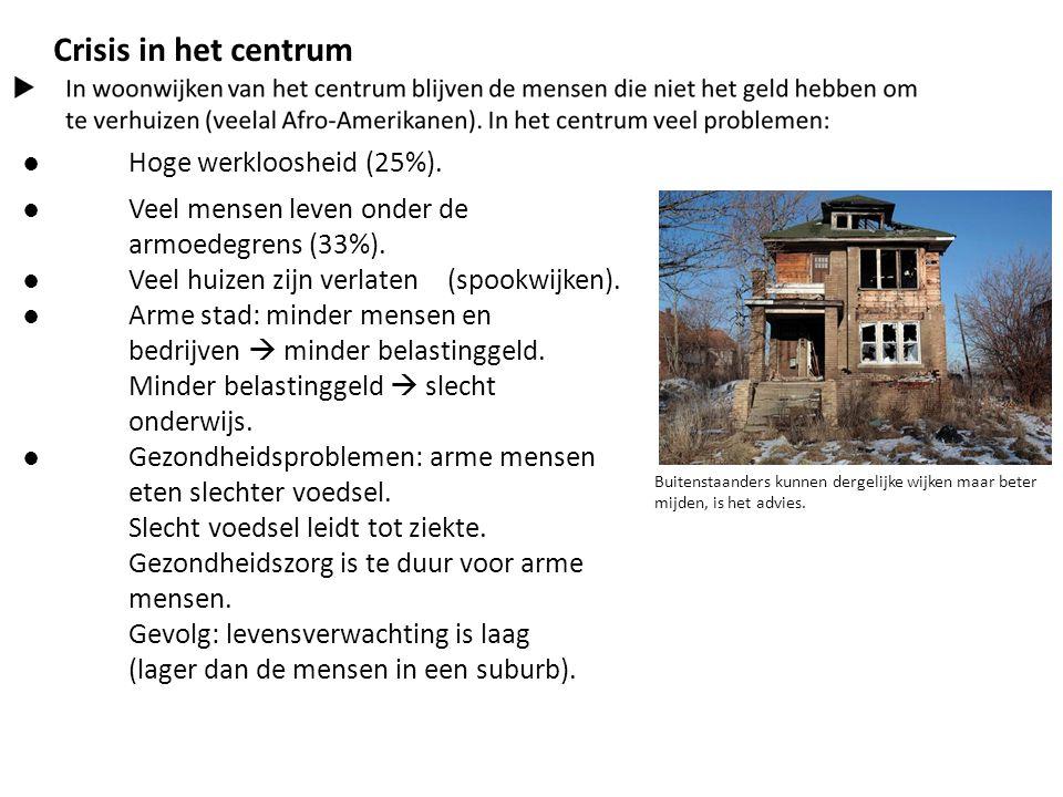Crisis in het centrum ● Hoge werkloosheid (25%). ● Veel mensen leven onder de armoedegrens (33%). ● Veel huizen zijn verlaten (spookwijken). ● Arme st