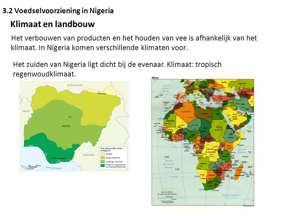 3.2 Voedselvoorziening in Nigeria Klimaat en landbouw Het verbouwen van producten en het houden van vee is afhankelijk van het klimaat. In Nigeria kom