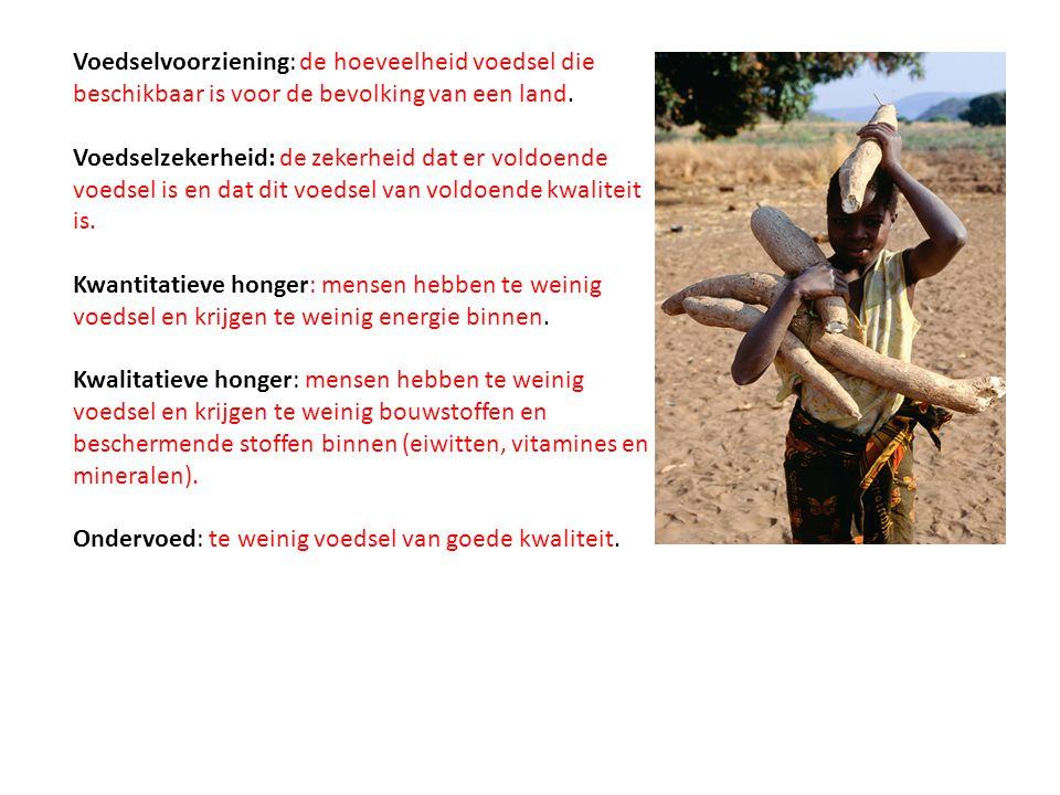 Voedselvoorziening: de hoeveelheid voedsel die beschikbaar is voor de bevolking van een land. Voedselzekerheid: de zekerheid dat er voldoende voedsel