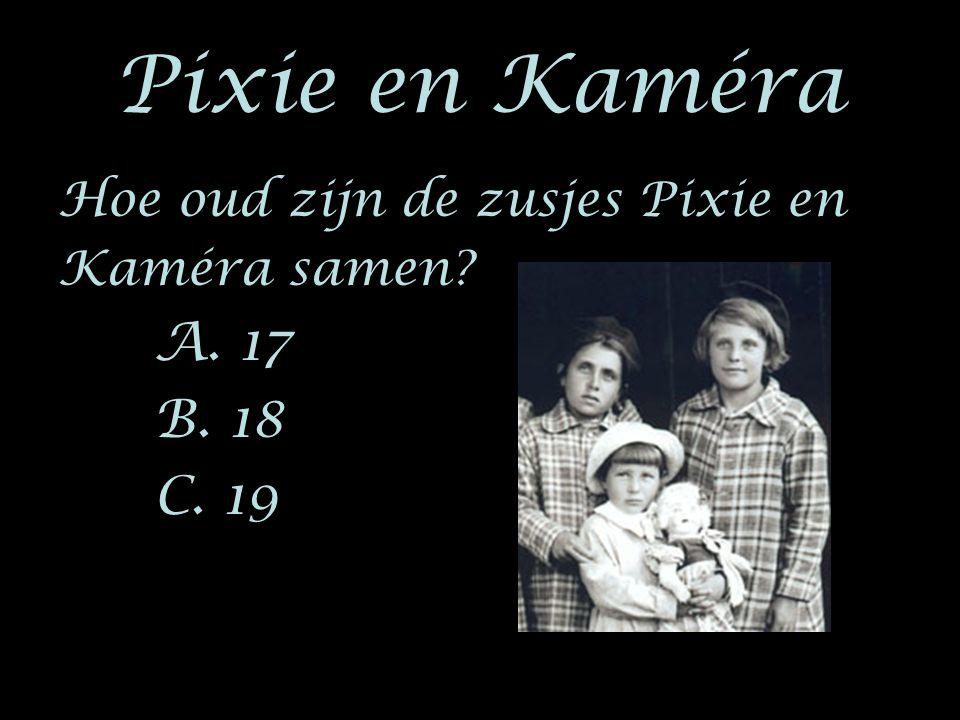 Hoe oud zijn de zusjes Pixie en Kaméra samen? A. 17 B. 18 C. 19