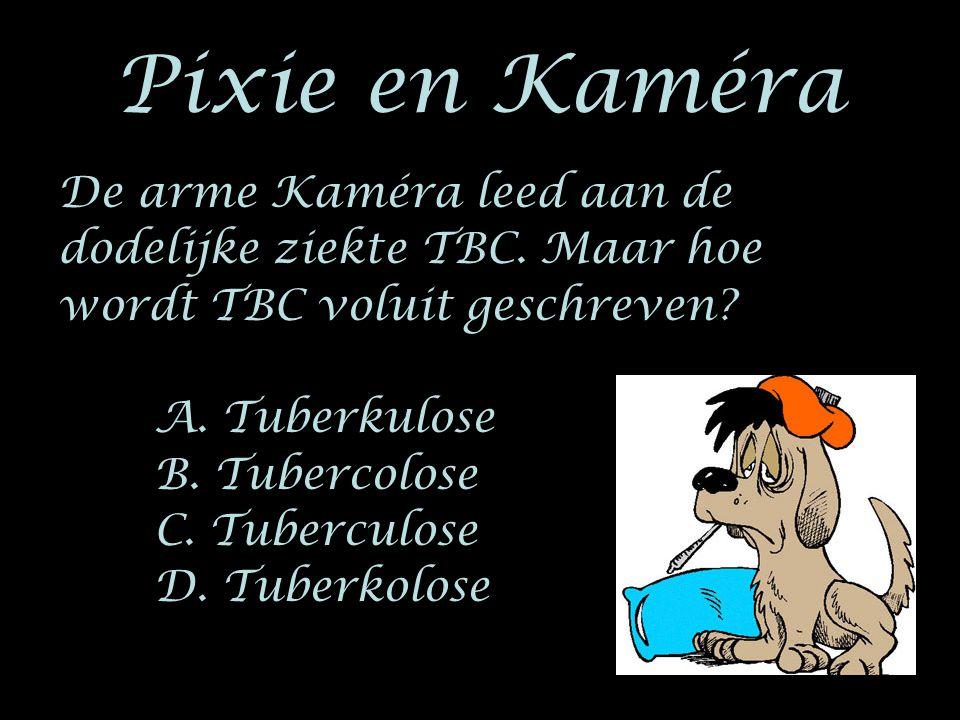 Pixie en Kaméra De arme Kaméra leed aan de dodelijke ziekte TBC. Maar hoe wordt TBC voluit geschreven? A. Tuberkulose B. Tubercolose C. Tuberculose D.