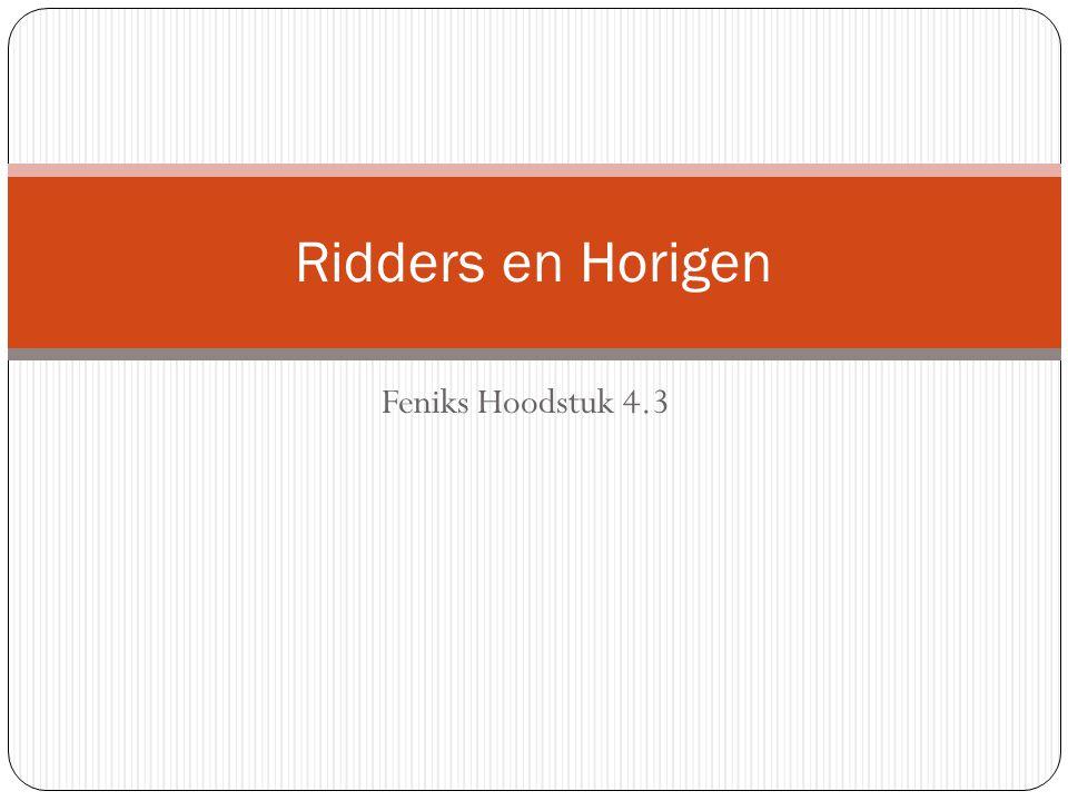 Feniks Hoodstuk 4.3 Ridders en Horigen