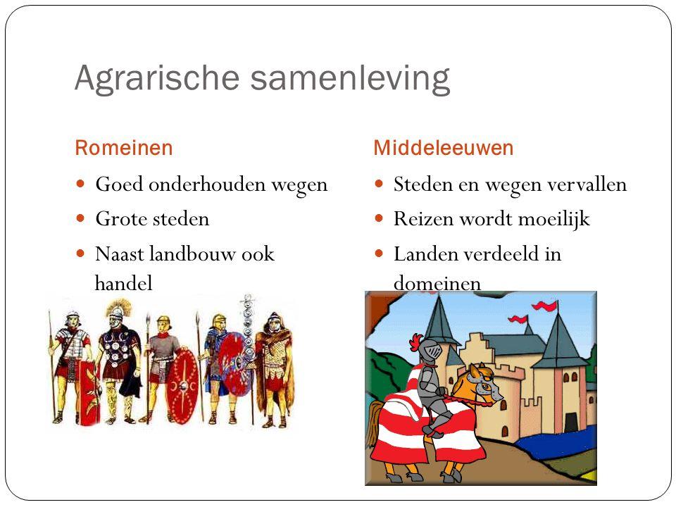 Agrarische samenleving RomeinenMiddeleeuwen Goed onderhouden wegen Grote steden Naast landbouw ook handel Steden en wegen vervallen Reizen wordt moeil
