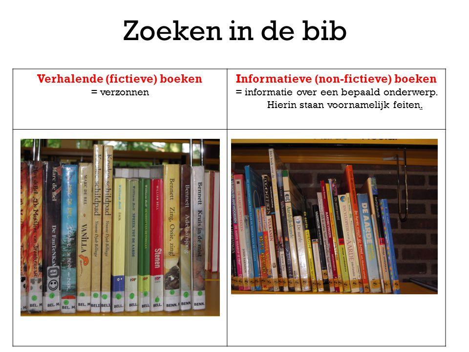 Zoeken in de bib Verhalende (fictieve) boeken = verzonnen Informatieve (non-fictieve) boeken = informatie over een bepaald onderwerp. Hierin staan voo