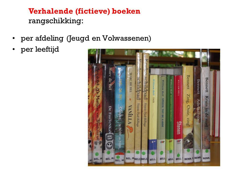 per afdeling (Jeugd en Volwassenen) per leeftijd Verhalende (fictieve) boeken rangschikking: