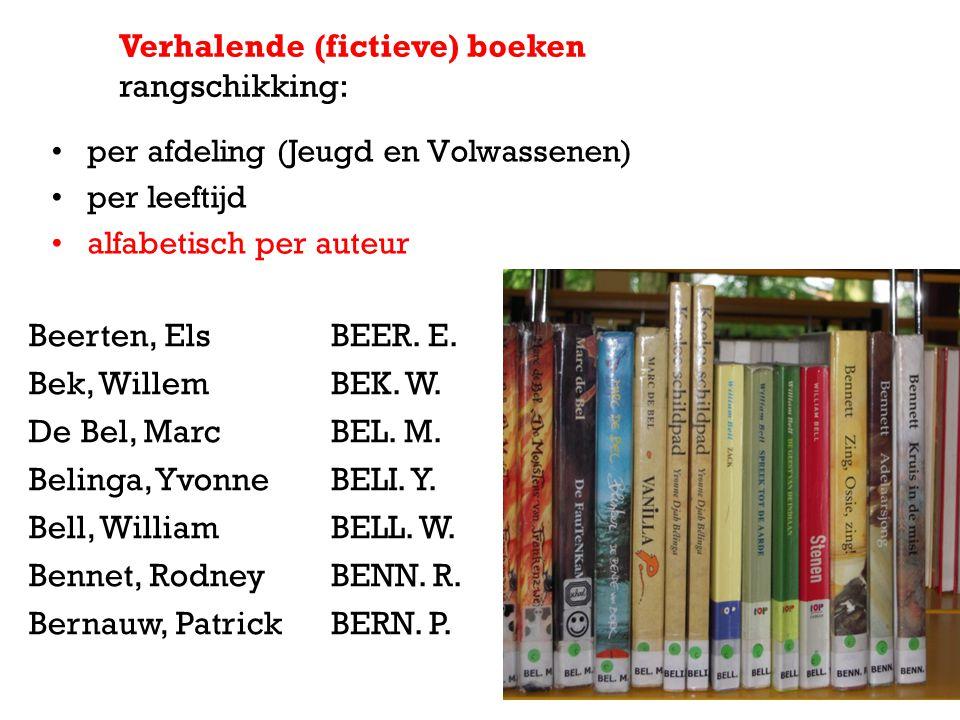 per afdeling (Jeugd en Volwassenen) per leeftijd alfabetisch per auteur Verhalende (fictieve) boeken rangschikking: Beerten, Els Bek, Willem De Bel, M