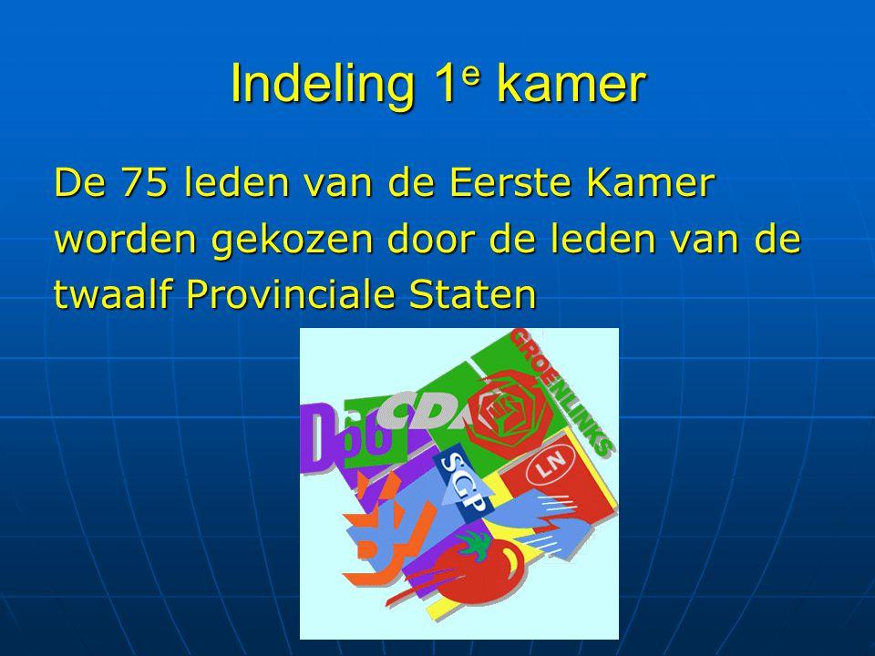 Indeling 1 e kamer De 75 leden van de Eerste Kamer worden gekozen door de leden van de twaalf Provinciale Staten