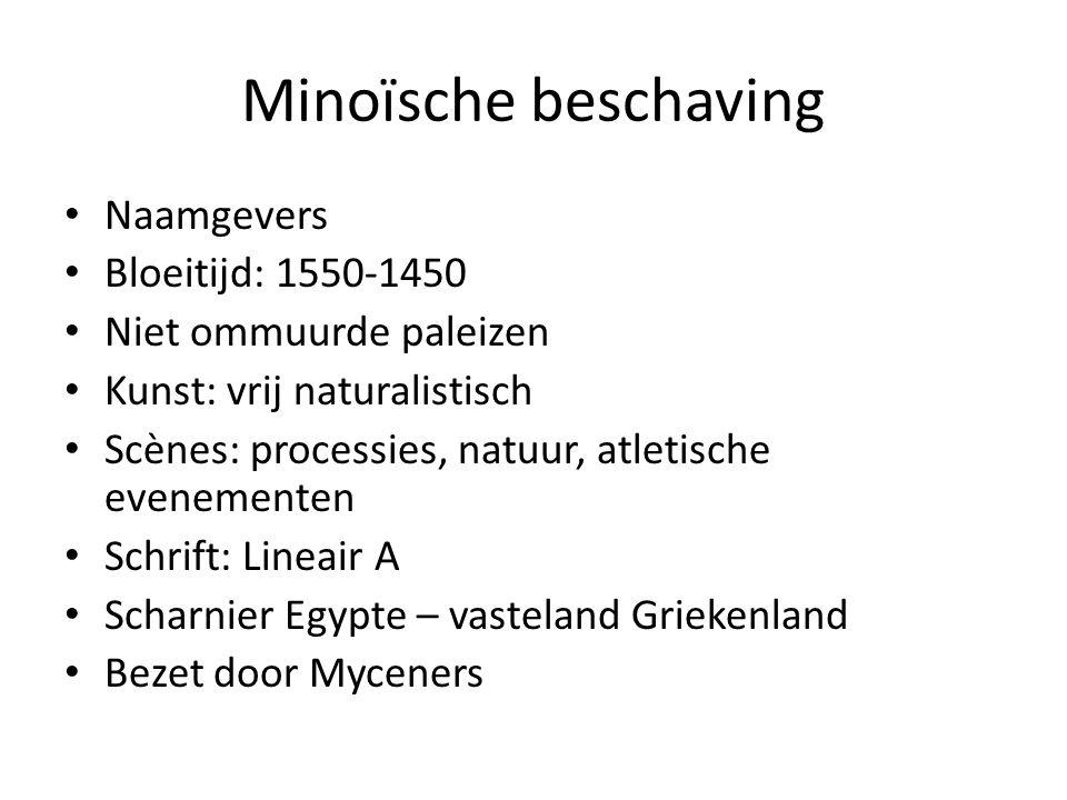Minoïsche beschaving Naamgevers Bloeitijd: 1550-1450 Niet ommuurde paleizen Kunst: vrij naturalistisch Scènes: processies, natuur, atletische evenemen