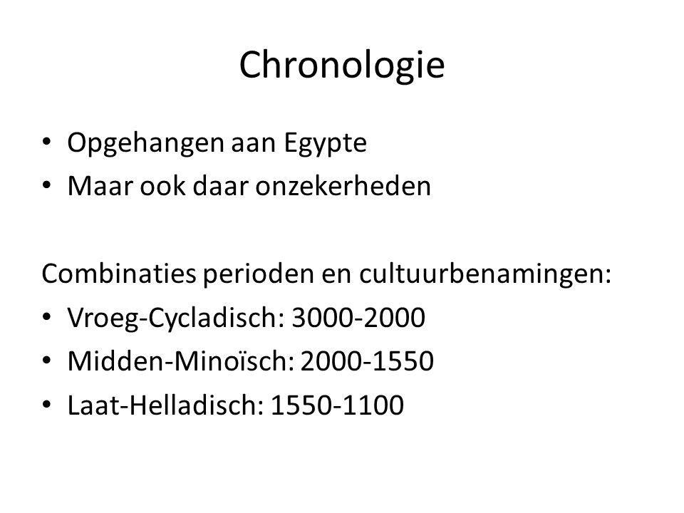Chronologie Opgehangen aan Egypte Maar ook daar onzekerheden Combinaties perioden en cultuurbenamingen: Vroeg-Cycladisch: 3000-2000 Midden-Minoïsch: 2000-1550 Laat-Helladisch: 1550-1100