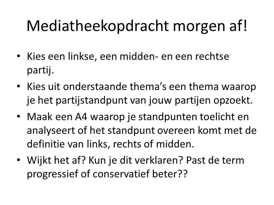 Mediatheekopdracht morgen af! Kies een linkse, een midden- en een rechtse partij. Kies uit onderstaande thema's een thema waarop je het partijstandpun