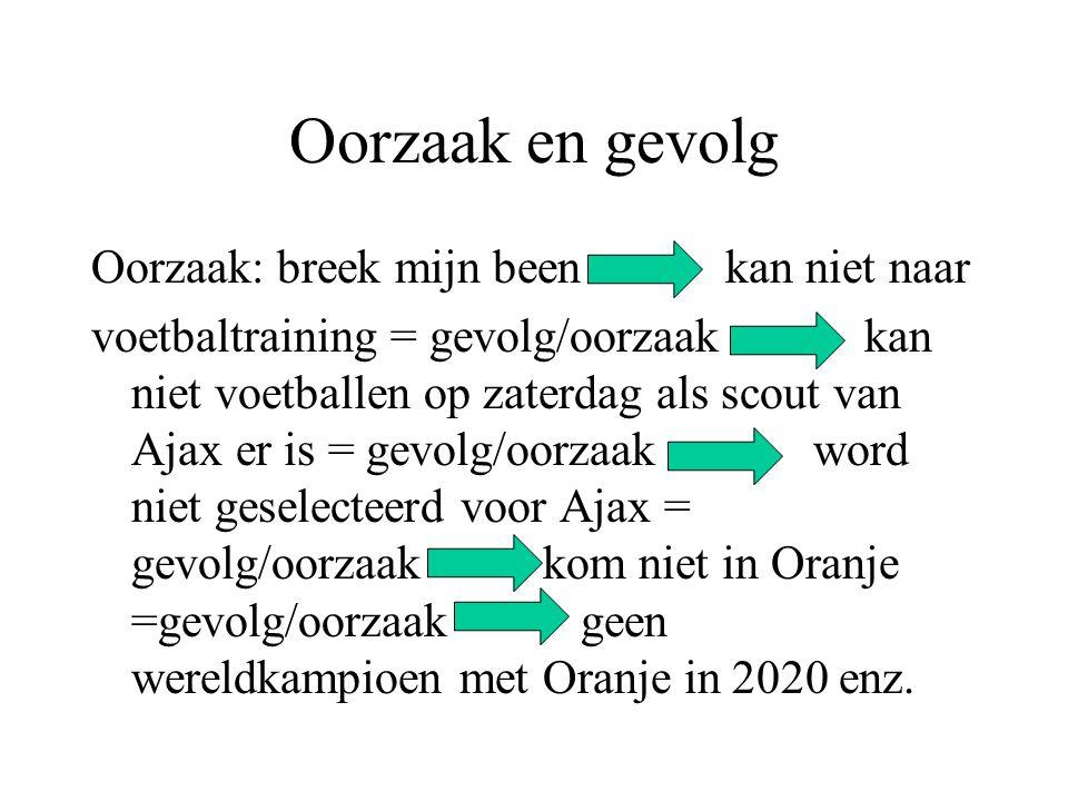 Oorzaak en gevolg Oorzaak: breek mijn been kan niet naar voetbaltraining = gevolg/oorzaak kan niet voetballen op zaterdag als scout van Ajax er is = g