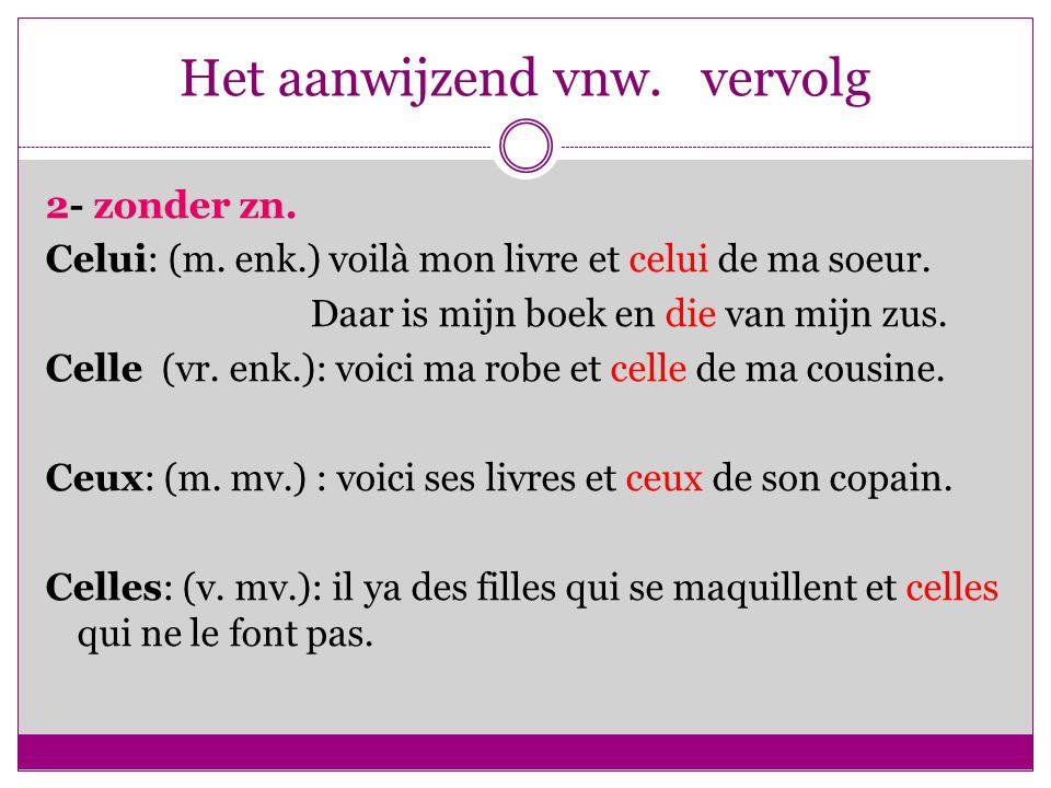 Het aanwijzend vnw. vervolg 2- zonder zn. Celui: (m.