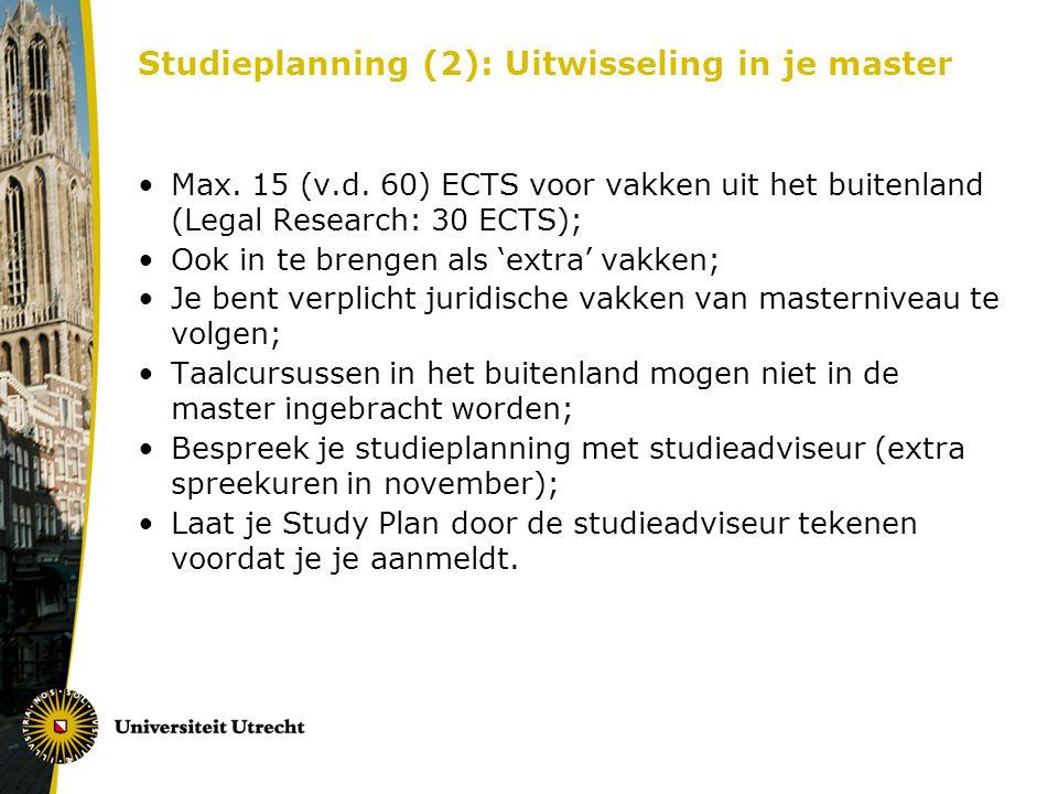 Studieplanning (2): Uitwisseling in je master Max.