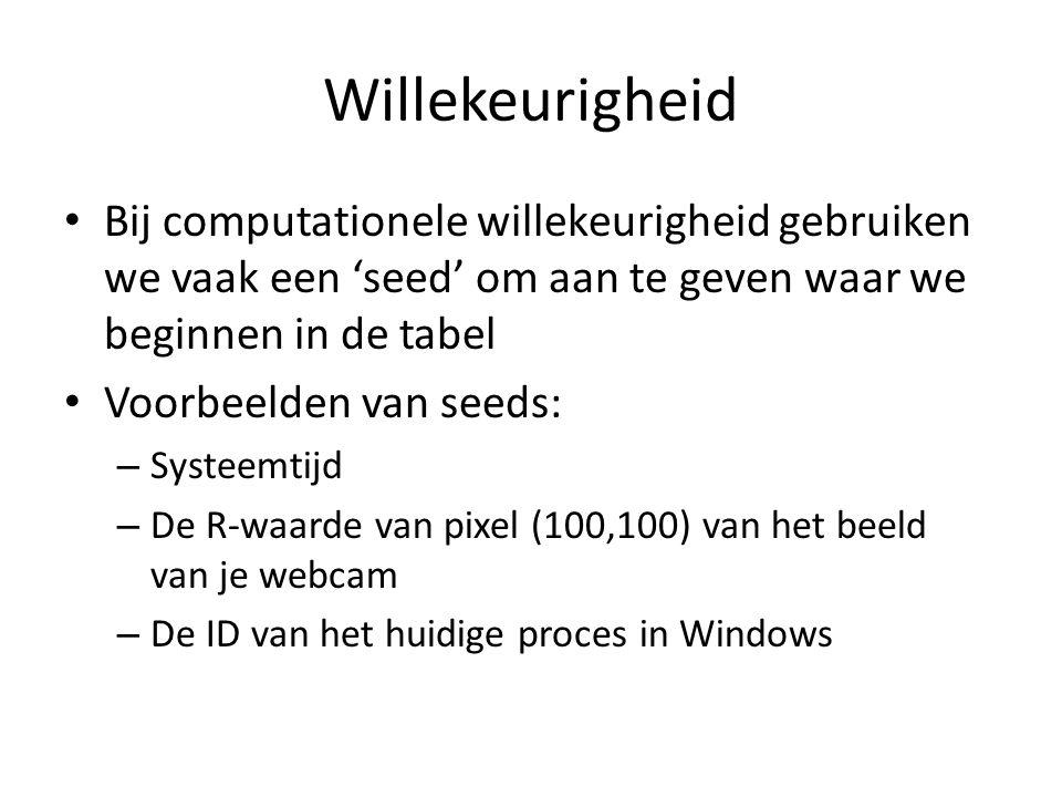 Willekeurigheid Bij computationele willekeurigheid gebruiken we vaak een 'seed' om aan te geven waar we beginnen in de tabel Voorbeelden van seeds: – Systeemtijd – De R-waarde van pixel (100,100) van het beeld van je webcam – De ID van het huidige proces in Windows