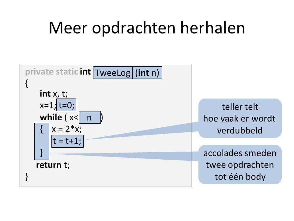 int x, t; x=1; t=0; while ( x<1000 ) { x = 2*x; t = t+1; } Meer opdrachten herhalen return t; } n private static int Naam ( ) { accolades smeden twee opdrachten tot één body teller telt hoe vaak er wordt verdubbeld (int n)TweeLog