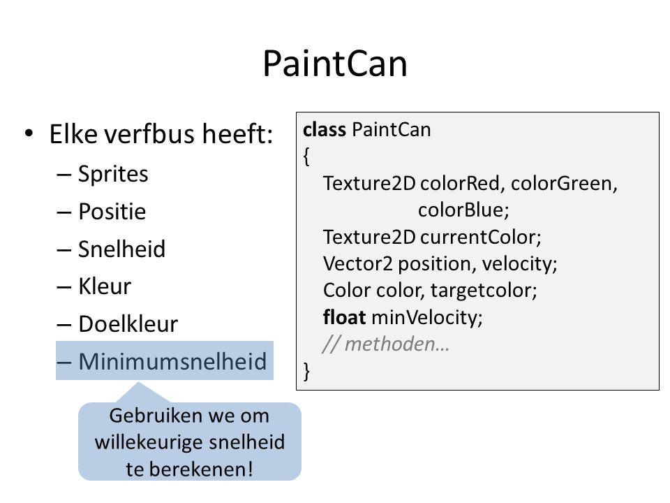PaintCan Elke verfbus heeft: – Sprites – Positie – Snelheid – Kleur – Doelkleur – Minimumsnelheid class PaintCan { Texture2D colorRed, colorGreen, colorBlue; Texture2D currentColor; Vector2 position, velocity; Color color, targetcolor; float minVelocity; // methoden… } Gebruiken we om willekeurige snelheid te berekenen!