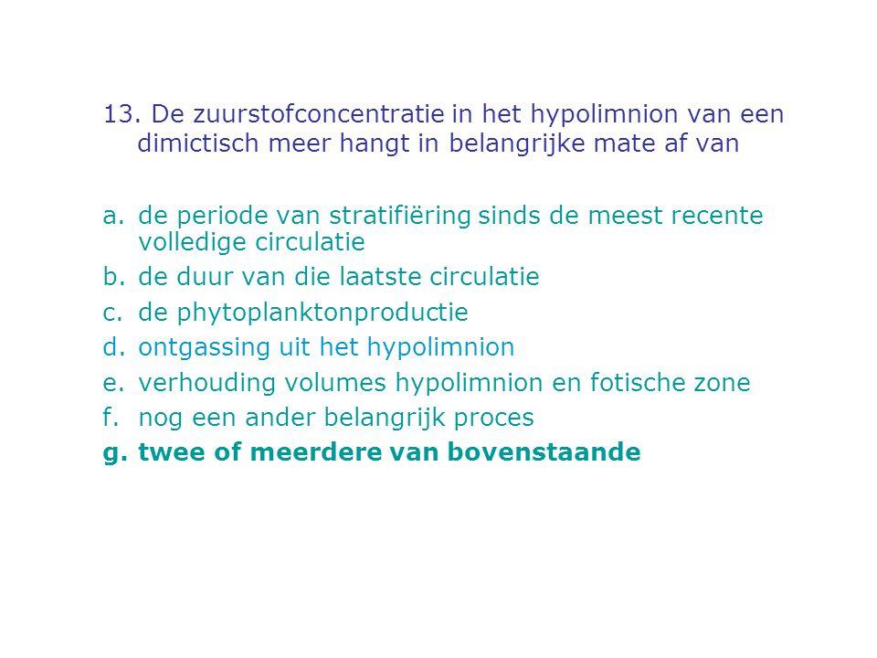 13. De zuurstofconcentratie in het hypolimnion van een dimictisch meer hangt in belangrijke mate af van a.de periode van stratifiëring sinds de meest