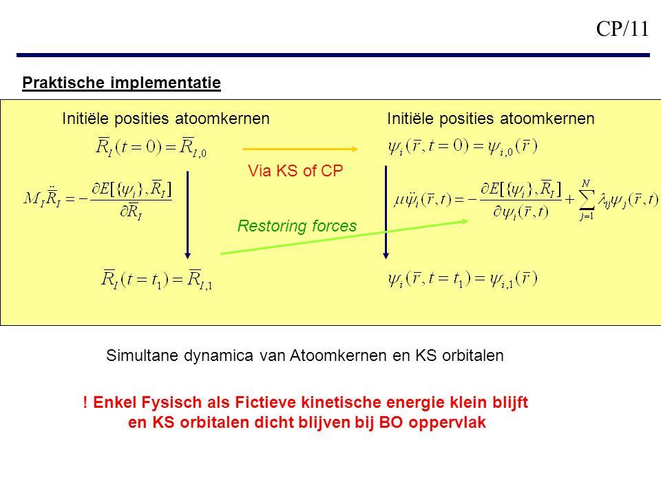 CP/11 Praktische implementatie Initiële posities atoomkernen Via KS of CP Restoring forces Simultane dynamica van Atoomkernen en KS orbitalen .
