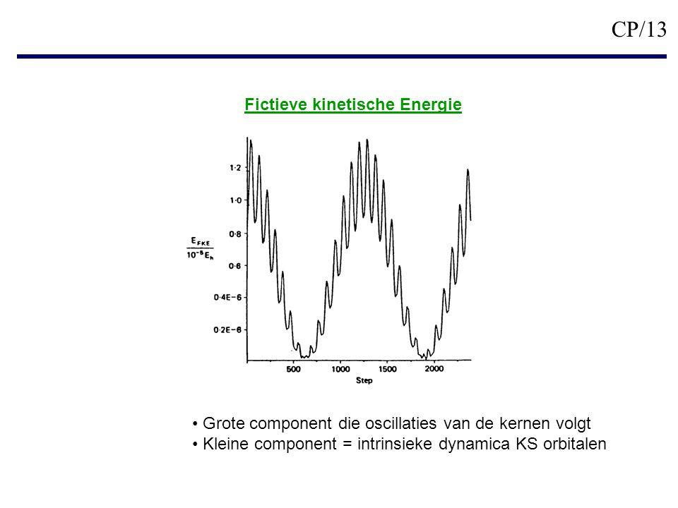 CP/13 Grote component die oscillaties van de kernen volgt Kleine component = intrinsieke dynamica KS orbitalen Fictieve kinetische Energie