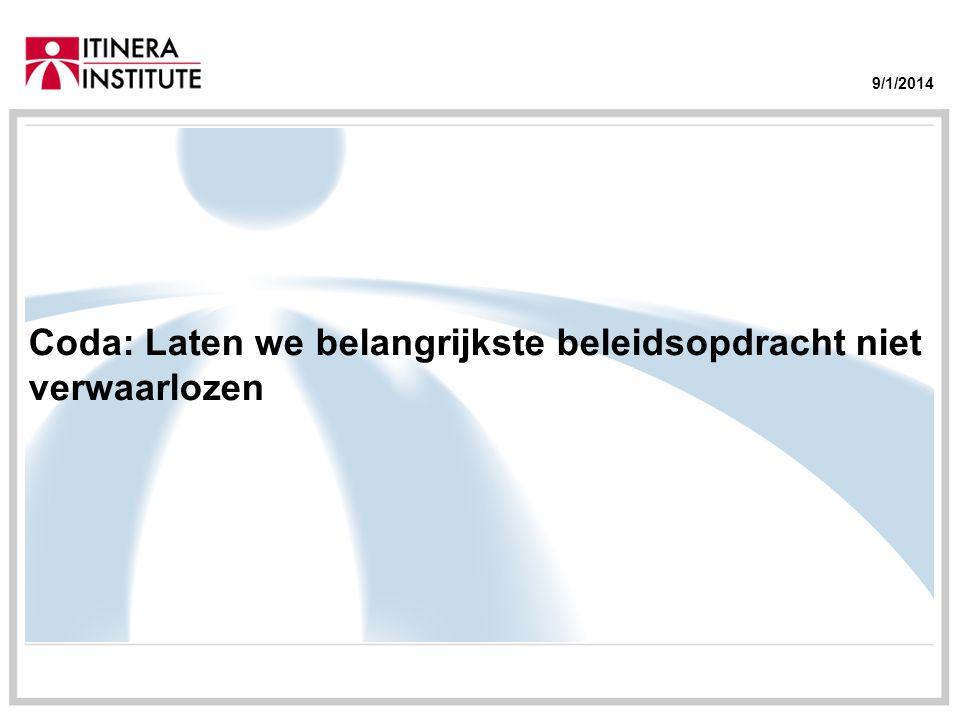 9/1/2014 Coda: Laten we belangrijkste beleidsopdracht niet verwaarlozen