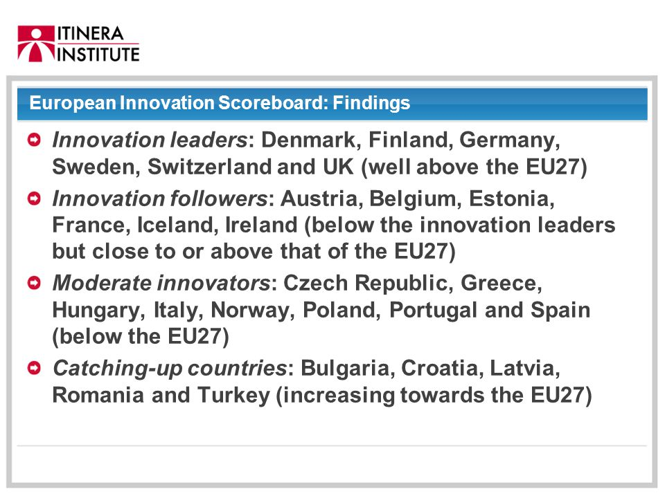 01/09/2014 European Innovation Scoreboard: Findings Innovation leaders: Denmark, Finland, Germany, Sweden, Switzerland and UK (well above the EU27) Innovation followers: Austria, Belgium, Estonia, France, Iceland, Ireland (below the innovation leaders but close to or above that of the EU27) Moderate innovators: Czech Republic, Greece, Hungary, Italy, Norway, Poland, Portugal and Spain (below the EU27) Catching-up countries: Bulgaria, Croatia, Latvia, Romania and Turkey (increasing towards the EU27)