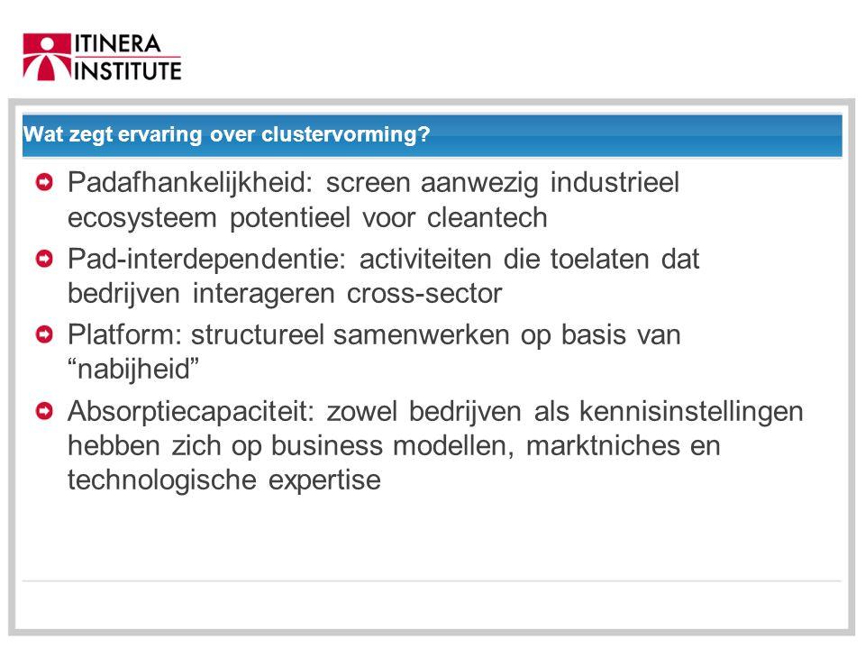 01/09/2014 Wat zegt ervaring over clustervorming.