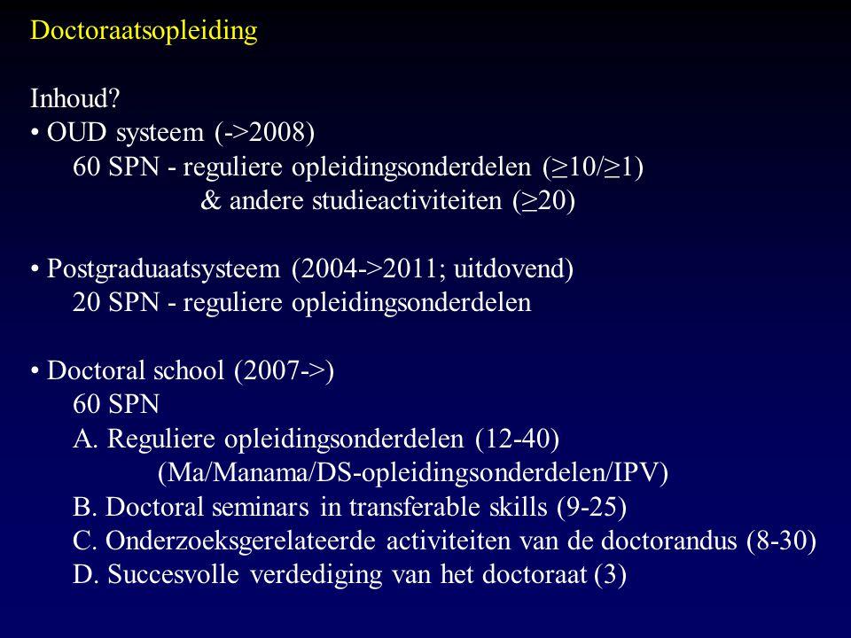 Doctoraatsopleiding Inhoud? OUD systeem (->2008) 60 SPN - reguliere opleidingsonderdelen (≥10/≥1) & andere studieactiviteiten (≥20) Postgraduaatsystee