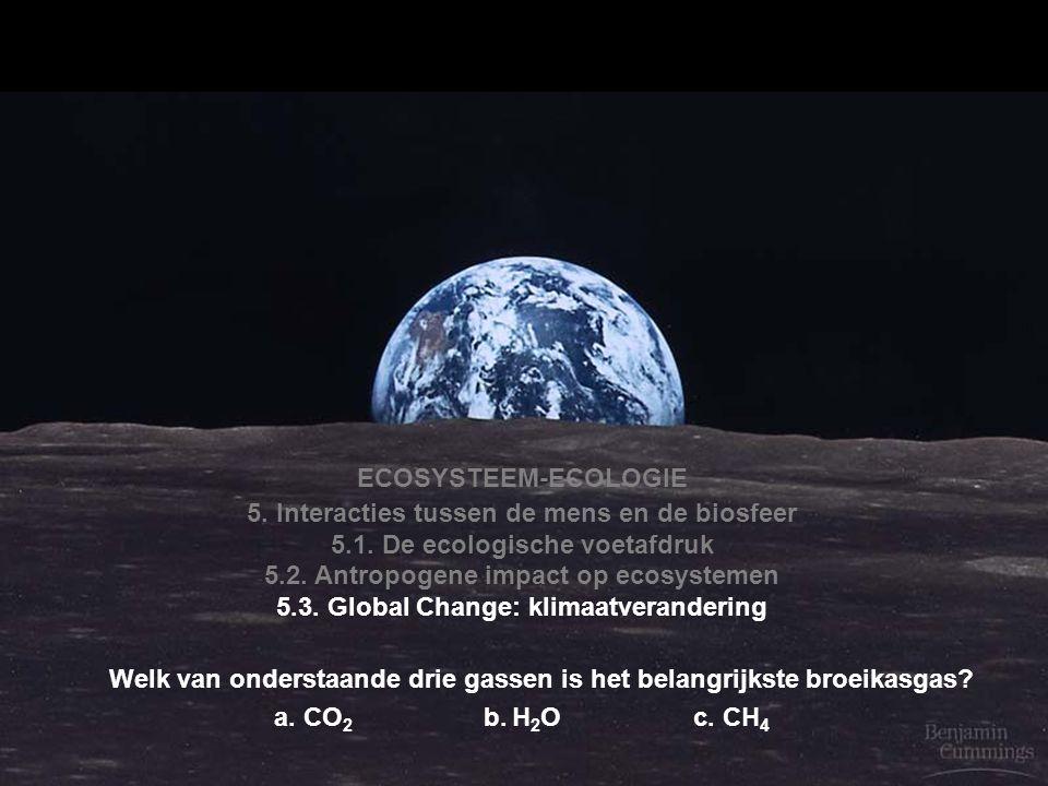 ECOSYSTEEM-ECOLOGIE 5. Interacties tussen de mens en de biosfeer 5.1. De ecologische voetafdruk 5.2. Antropogene impact op ecosystemen 5.3. Global Cha