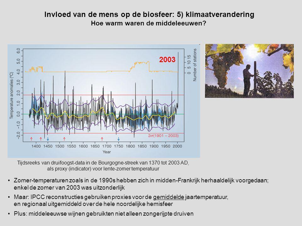Tijdsreeks van druifoogst-data in de Bourgogne-streek van 1370 tot 2003 AD, als proxy (indicator) voor lente-zomer temperatuur 2003 Invloed van de mens op de biosfeer: 5) klimaatverandering Hoe warm waren de middeleeuwen.
