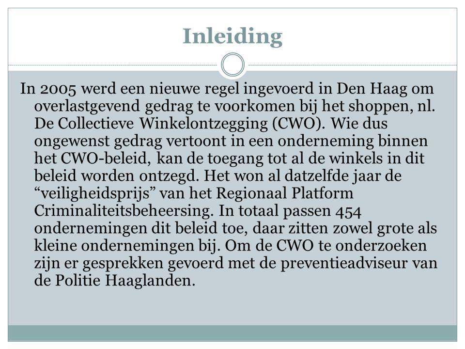 Inleiding In 2005 werd een nieuwe regel ingevoerd in Den Haag om overlastgevend gedrag te voorkomen bij het shoppen, nl.