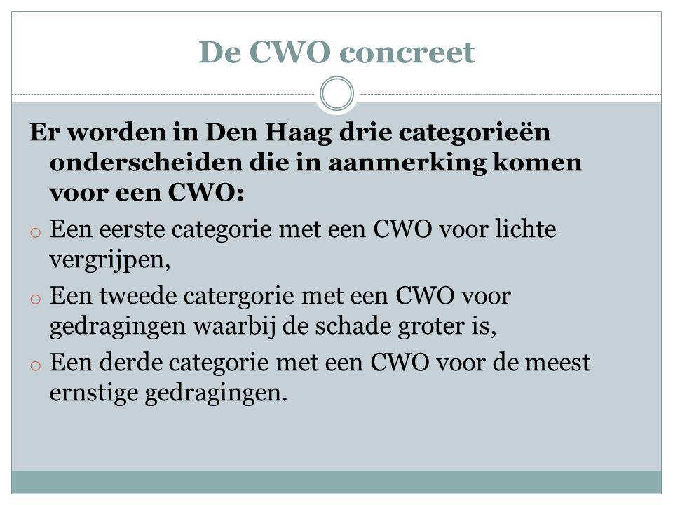 De CWO concreet Er worden in Den Haag drie categorieën onderscheiden die in aanmerking komen voor een CWO: o Een eerste categorie met een CWO voor lichte vergrijpen, o Een tweede catergorie met een CWO voor gedragingen waarbij de schade groter is, o Een derde categorie met een CWO voor de meest ernstige gedragingen.