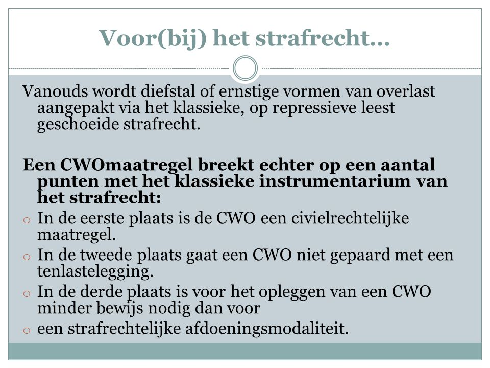 Kortom, om de binnenstad van Den Haag aantrekkelijker te maken en het doel van meer veiligheid te bereiken worden privaatrechterlijk instrumentaria of 'technologieën' ingezet, waarbij slechts via een omweg het strafrecht nog in beeld komt.